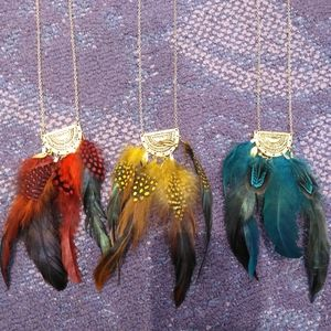 Claire's Boho Feather Necklace Red Yel Blu, Pick 1